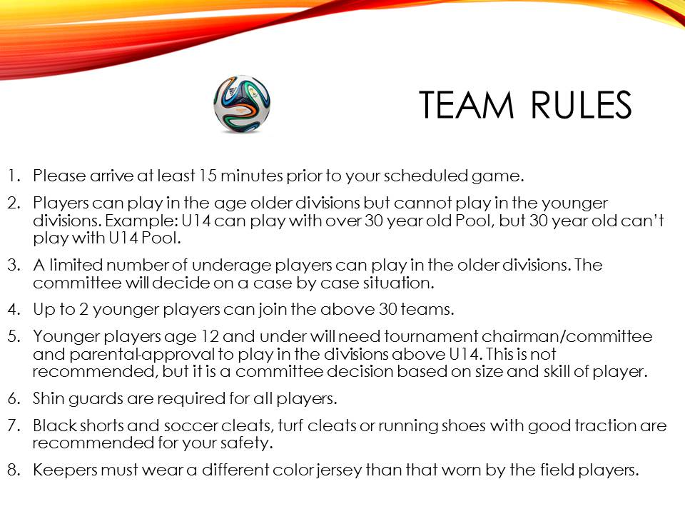 soccer tournament basic laws and regulations
